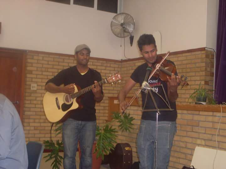 Acoustic Element's Callen Petersen and Jody Abel at their first gig at the New Apostolic Church in Parow