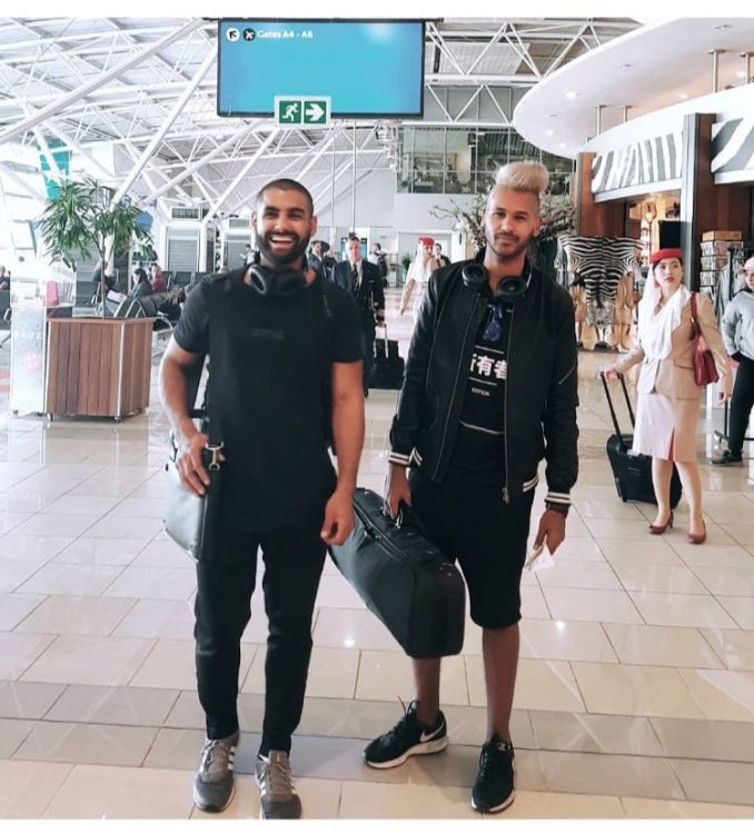 Jody Abel and Callen Petersen at the airport